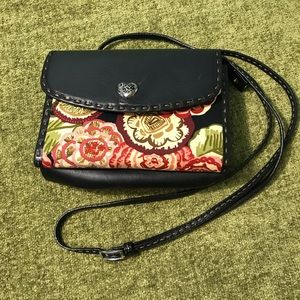 Brighton Black Leather/Fabric Crossbody Tri-fold